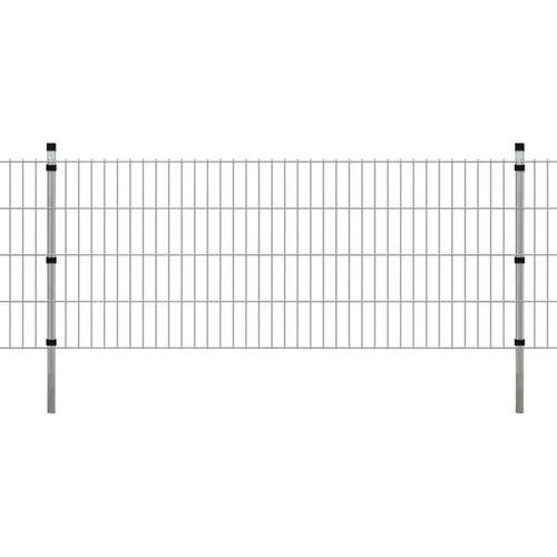 Przęsła i elementy ogrodzenia, vidaXL Panele ogrodzeniowe 2D z słupkami - 2008x830 mm 28 m Srebrne