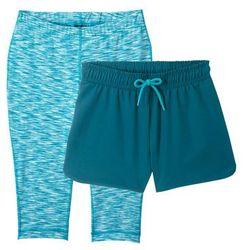 Spodenki sportowe + legginsy rybaczki (2 części) bonprix niebieskozielony morski-ciemnoturkusowy