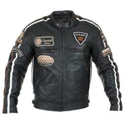 Męska skórzana kurtka motocyklowa W-TEC Sheawen, Czarny, 4XL