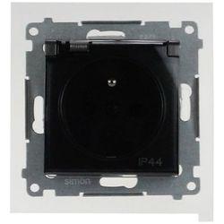 Gniazdo wtyczkowe Simon 54 DGZ1Bz.01/48A z klapką, uziemieniem i przesłonami IP44 antracyt Kontakt-Simon