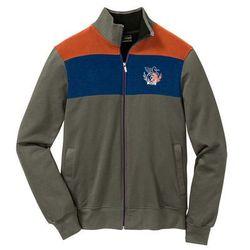 Bluza rozpinana Regular Fit bonprix ciemnooliwkowo-ciemnopomarańczowo-ciemnoniebieski