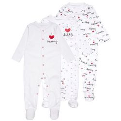mothercare UNISEX MUMMY AND DADDY SLEEPSUIT BABY 3 PACK Piżama black/white