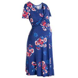 Sukienka ciążowa i do karmienia bonprix kobaltowy z nadrukiem