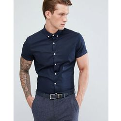 ASOS DESIGN slim shirt in navy with short sleeves and button down collar - Navy