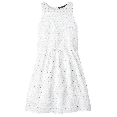 Sukienki dziecięce, Sukienka z haftem bonprix biały w kropki
