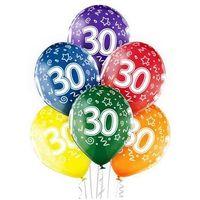 """Pozostałe wyposażenie domu, Balony transparentne z nadrukiem """"30"""" - 12 cali - 6 szt."""