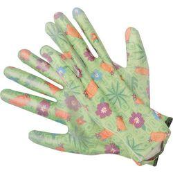 Rękawice ogrodowe - kwiatki - zielone / 74127 / FLO - ZYSKAJ RABAT 30 ZŁ