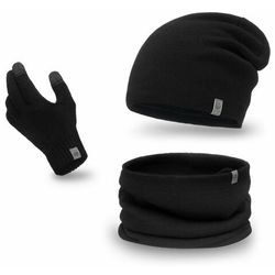 Zimowy komplet męski - czapka, komin, rękawiczki- Czarny
