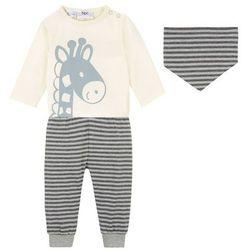 Shirt niemowlęcy + spodnie + chusta trójkątna (3 części), bawełna organiczna bonprix kremowo-szary melanż - antracytowy melanż