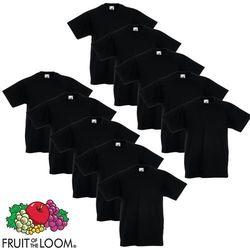Fruit of the Loom 10 koszulek dla dzieci, 100% bawełny, czarnych, rozmiar 164 cm Darmowa wysyłka i zwroty
