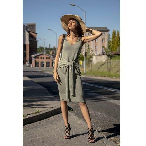 Suknie i sukienki, Oliwkowa Prosta Midi Sukienka Swetrowa z Finezyjnym Wiązaniem