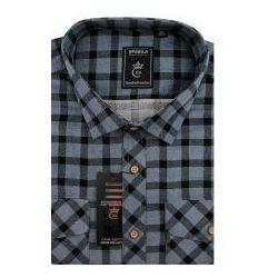 Koszula Męska Speed.A sztruksowa szara w kratkę na długi rękaw duże rozmiary D946