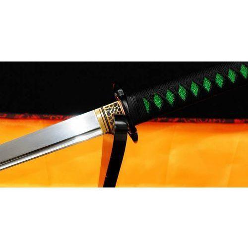 Broń treningowa, MIECZ JAPOŃSKI SAMURAJSKI NINJA DO TRENINGU, STAL WYSOKOWĘGLOWA 1095 WARSTWOWANA DAMASCEŃSKA, ZIELONA SAYA R331