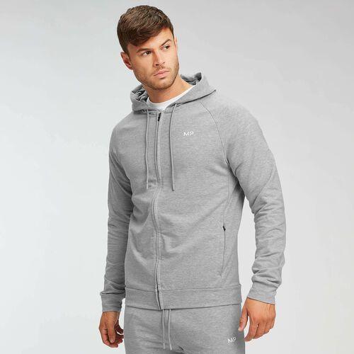 Pozostała odzież sportowa, Męska bluza z kapturem zapinana na suwak Form MP – szary melanż - M