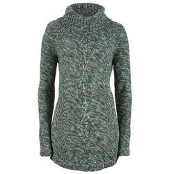 Sweter poncho, długi rękaw bonprix głęboki zielony melanż