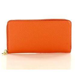 Modny duży portfel z naturalnej skóry Marco Mazzini P115B Orange Mandarino - Mazzini