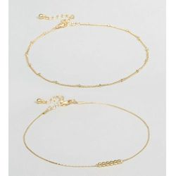 ASOS CURVE Pack of 2 Fine Ball Charm Anklets - Gold