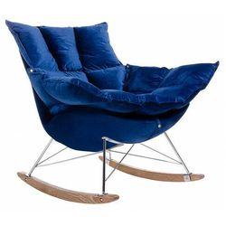 Welurowy ciemnoniebieski bujany fotel - Cradle