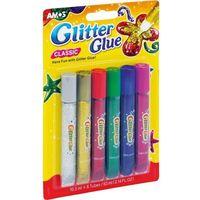 Kleje, Klej Glitter Glue classic 6 kolorów blister AMOS