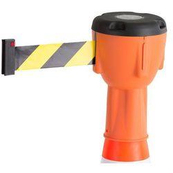 Głowica z taśmą na pachołek drogowy, 10 000 mm, pomarańczowy, żółto-czarna taśma