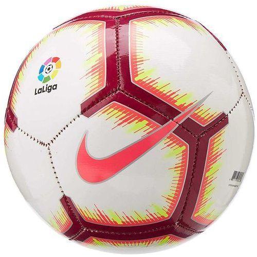 Piłka nożna, Piłka nożna Nike Pitch FA18 La Liga SC3318-100 biało-czerwono-różowy z dodatkiem żółtego