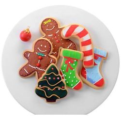 Dekoracja cukrowa na ciastko ludzik, skarpeta, laska, choinka - 6 szt.