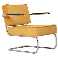 Krzesła, Zuiver Krzesło Lounge RIDGE RIB ARM żółte 3100019