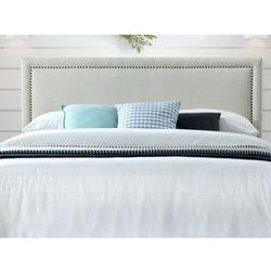 Zagłówek łóżka wykończony nitami ALVISE - Tkanina imitująca len - 160 cm - Kolor beżowy