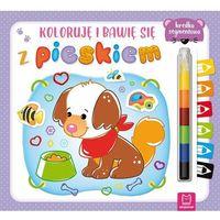 Książki dla dzieci, Koloruję i bawię się z pieskiem. Edukacyjna książeczka z naklejkami (opr. miękka)