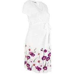 Sukienka ciążowa shirtowa bonprix biel wełny z kwiatowym nadrukiem