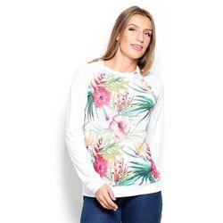 Bluza z Wzorzystym Przodem w Kwiaty na Białym Tle