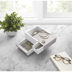 Umbra - pudełko na biżuterię mini stowit - biały/nikiel