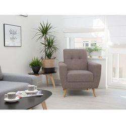 Fotel wypoczynkowy brązowo-szary do salonu tapicerowany - HERNING