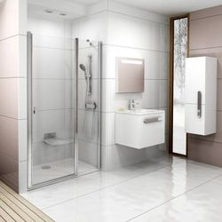 Ravak Chrome drzwi prysznicowe dwuelementowe CSD2-100, wys. 195 cm, Biały+Transparent 0QVAC100Z1