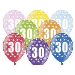 """Balony metalic z nadrukiem """"30"""" - mix - 38 cm - 5 szt."""