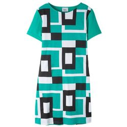 Sukienka shirtowa bonprix czarno-biało-szmaragdowy