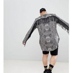 ASOS DESIGN Plus regular fit overhead paisley printed shirt with fringing - Black