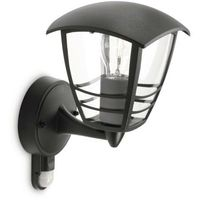 Lampy ścienne, CREEK - Kinkiet Zewnętrzny z Czujnikiem Czarny