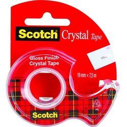 Taśma klejąca Scotch Crystal 19mmx7,5m krystalicznie przezroczysta w podajniku
