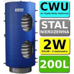 CHEŁCHOWSKI 200L 2-wężownice Nierdzewka Solar, 2W Zbiornik Zasobnik Wymiennik Bojler, Nierdzewna Stal, Wysyłka GRATIS