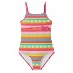 Kostium kąpielowy dziewczęcy bonprix różowo-turkusowo-pomarańczowo-zielony