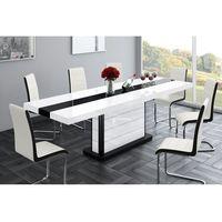 Stoliki i ławy, Stół rozkładany Pianosa biało-czarny wysoki połysk