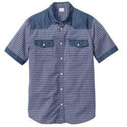Koszula z materiału w optyce denimu, z krótkim rękawem Regular Fit bonprix niebieski