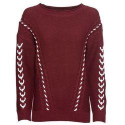Sweter z krzyżykowym haftem bonprix ciemnoniebieski z haftem