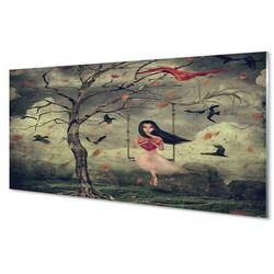 Szklany Panel Drzewo ptaki dziewczynka chmury skały