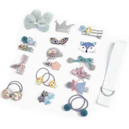 Pozostała biżuteria, Zestaw dla dziewczynki błękitny spinki gumki