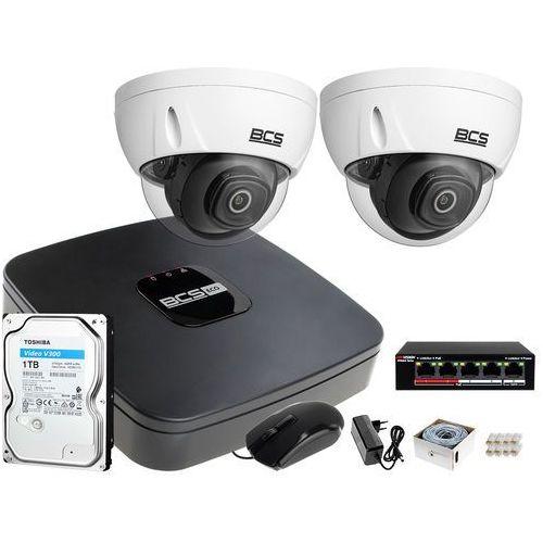 Zestawy monitoringowe, 2x BCS-DMIP3201IR-E-V FullHD zestaw monitoringu BCS-NVR04015ME-II Dysk 1TB Akcesoria