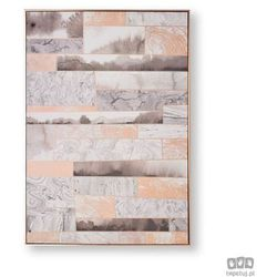 Obraz ręcznie malowany - Abstrakcja w odcieniach różowego złota i szarości 104020