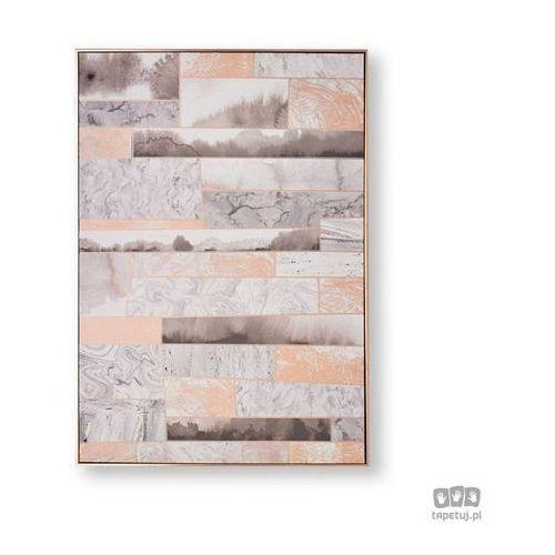 Obrazy, Obraz ręcznie malowany - Abstrakcja w odcieniach różowego złota i szarości 104020