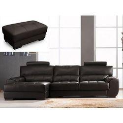 Sofa narożna i puf ze skóry METROPOLITAN II - Czekoladowy - Narożnik lewostronny